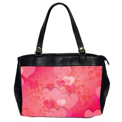 Hearts Pink Background Office Handbags (2 Sides)