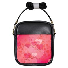Hearts Pink Background Girls Sling Bags
