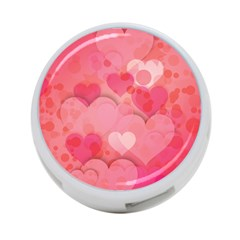 Hearts Pink Background 4 Port Usb Hub (two Sides)