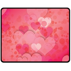 Hearts Pink Background Fleece Blanket (medium)