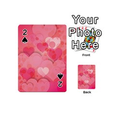 Hearts Pink Background Playing Cards 54 (mini)