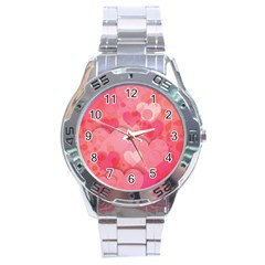Hearts Pink Background Stainless Steel Analogue Watch