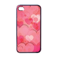 Hearts Pink Background Apple Iphone 4 Case (black)