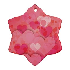 Hearts Pink Background Snowflake Ornament (two Sides)