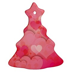 Hearts Pink Background Christmas Tree Ornament (Two Sides)