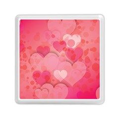 Hearts Pink Background Memory Card Reader (square)
