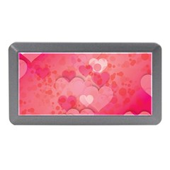Hearts Pink Background Memory Card Reader (mini)