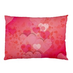 Hearts Pink Background Pillow Case (Two Sides)