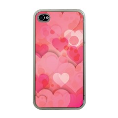 Hearts Pink Background Apple iPhone 4 Case (Clear)