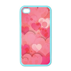 Hearts Pink Background Apple iPhone 4 Case (Color)