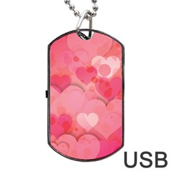 Hearts Pink Background Dog Tag USB Flash (One Side)