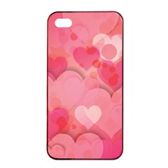 Hearts Pink Background Apple Iphone 4/4s Seamless Case (black)