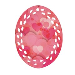 Hearts Pink Background Oval Filigree Ornament (two Sides)