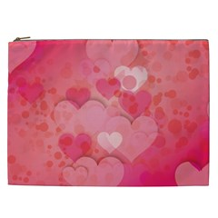Hearts Pink Background Cosmetic Bag (XXL)