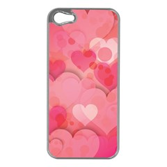 Hearts Pink Background Apple Iphone 5 Case (silver)