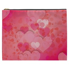 Hearts Pink Background Cosmetic Bag (xxxl)