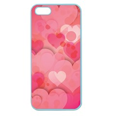 Hearts Pink Background Apple Seamless Iphone 5 Case (color)