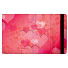 Hearts Pink Background Apple Ipad 3/4 Flip Case