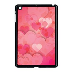 Hearts Pink Background Apple iPad Mini Case (Black)