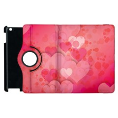 Hearts Pink Background Apple Ipad 2 Flip 360 Case