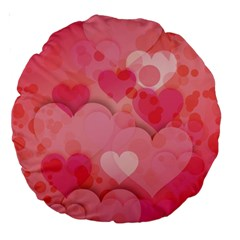 Hearts Pink Background Large 18  Premium Round Cushions