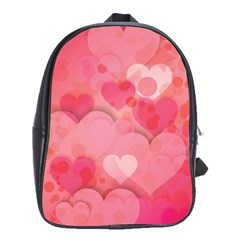 Hearts Pink Background School Bags (xl)