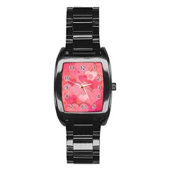 Hearts Pink Background Stainless Steel Barrel Watch