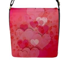 Hearts Pink Background Flap Messenger Bag (l)