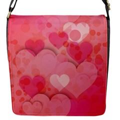 Hearts Pink Background Flap Messenger Bag (s)