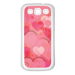 Hearts Pink Background Samsung Galaxy S3 Back Case (white)