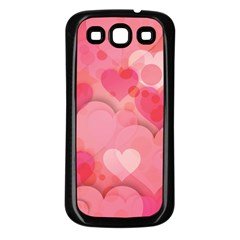Hearts Pink Background Samsung Galaxy S3 Back Case (Black)