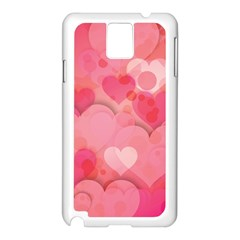 Hearts Pink Background Samsung Galaxy Note 3 N9005 Case (white)