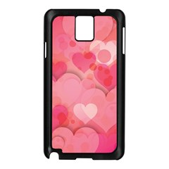 Hearts Pink Background Samsung Galaxy Note 3 N9005 Case (Black)
