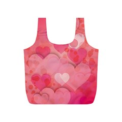 Hearts Pink Background Full Print Recycle Bags (s)
