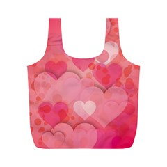 Hearts Pink Background Full Print Recycle Bags (m)