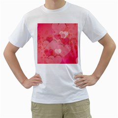 Hearts Pink Background Men s T Shirt (white)