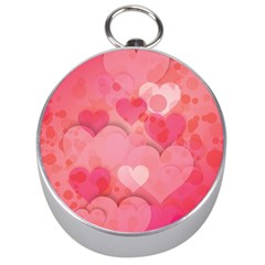 Hearts Pink Background Silver Compasses