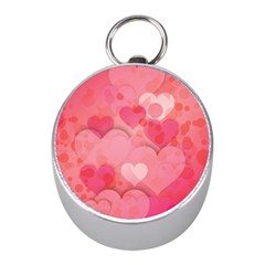 Hearts Pink Background Mini Silver Compasses