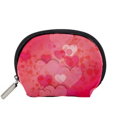 Hearts Pink Background Accessory Pouches (small)