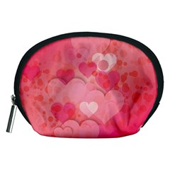 Hearts Pink Background Accessory Pouches (medium)