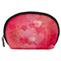 Hearts Pink Background Accessory Pouches (large)