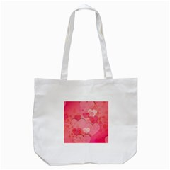 Hearts Pink Background Tote Bag (white)