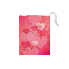Hearts Pink Background Drawstring Pouches (small)