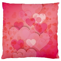 Hearts Pink Background Large Flano Cushion Case (two Sides)