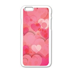 Hearts Pink Background Apple Iphone 6/6s White Enamel Case