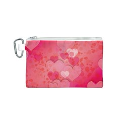 Hearts Pink Background Canvas Cosmetic Bag (s)