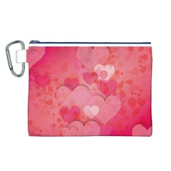 Hearts Pink Background Canvas Cosmetic Bag (l)