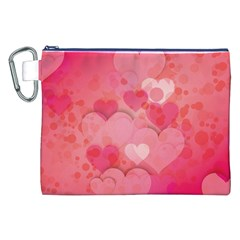 Hearts Pink Background Canvas Cosmetic Bag (xxl)