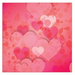 Hearts Pink Background Large Satin Scarf (square)
