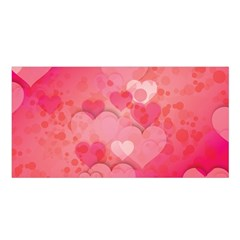 Hearts Pink Background Satin Shawl